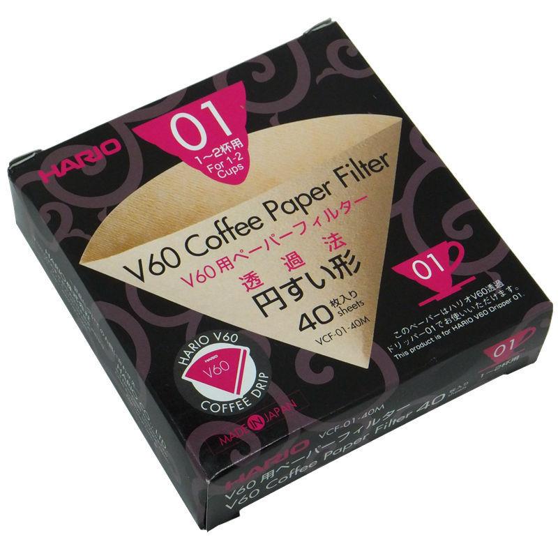 V60 Coffee Paper Filter for 01 Dripper สีน้ำตาล 40 ชิ้น