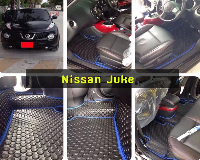 Nissan Juke ยางปูรถ ลายกระดุมสีดำ ขอบน้ำเงิน