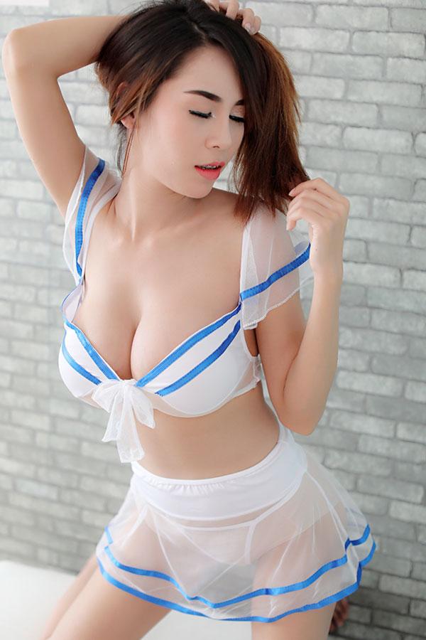 ชุดญี่ปุ่นเบาสีขาวฟ้า(5965) (ฟรีไซส์)