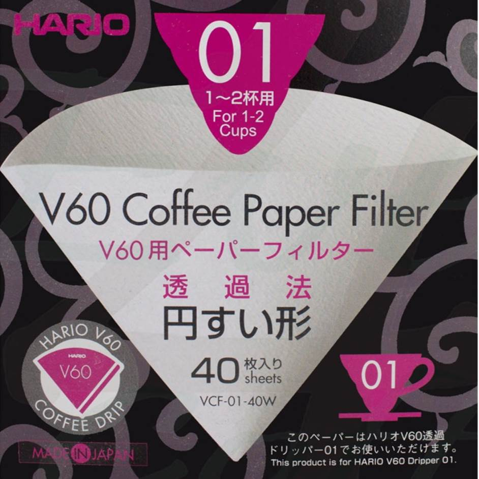 V60 Coffee Paper Filter for 01 Dripper สีขาว 40 ชิ้น
