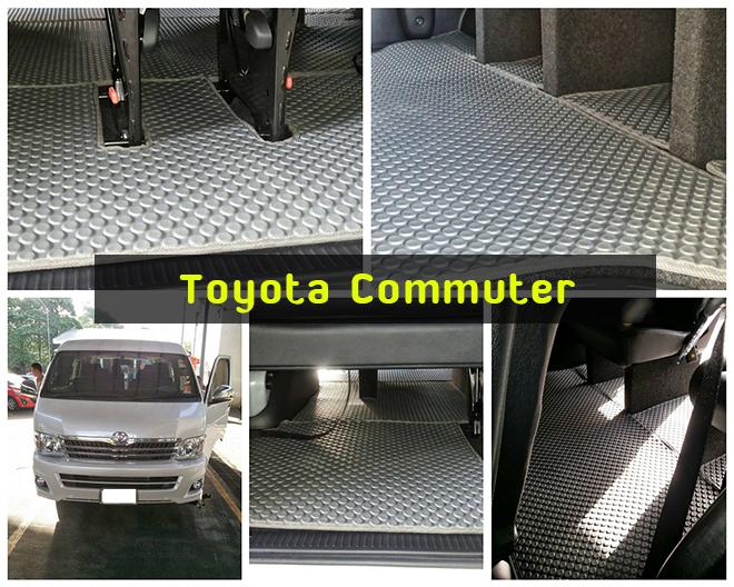ยางปูพื้นรถยนต์ Toyota commuter กระดุมสีเทา