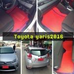 พรมปูพื้นรถยนต์ Toyota yaris2016 ไวนิล สีแดงขอบน้ำเงิน