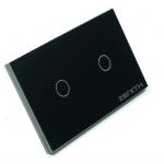 สวิตช์ไฟระบบสัมผัส ควบคุมด้วยรีโมท รุ่น 2 ปุ่ม สีดำ