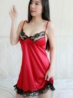 ชุดนอนสีแดงขอบดำ(6853) (S / M / L / XL / XXL)