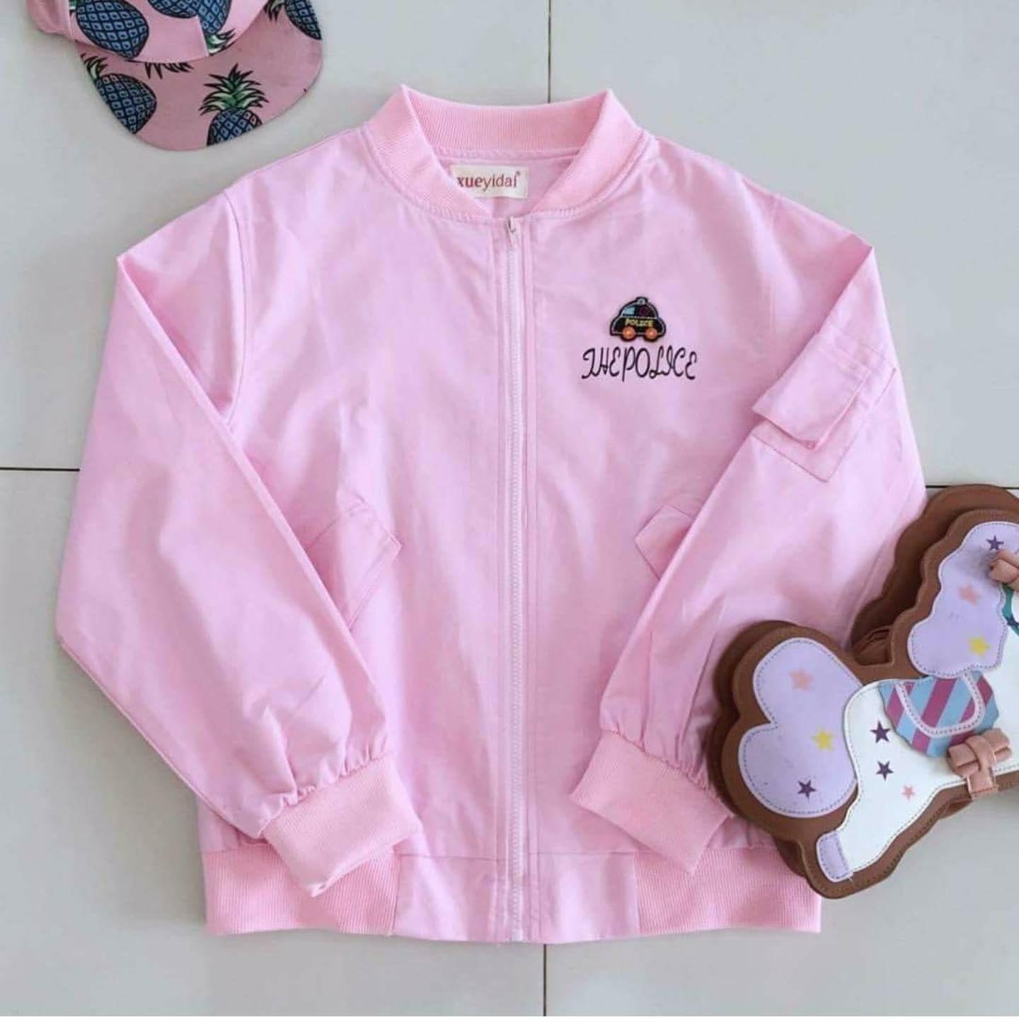 เสื้อแจ็คเก็ต thepolice สีชมพู