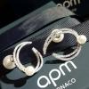 Apm diamond with pearl EarringฝังCZแท้Hademade