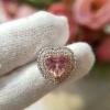 Heart pink 2tone Earring🔹ต่างหูหัวใจล้อมเพชรแบบทูโทน เกรดสั่งผลิต ต้นแบบจากtiffany งานฝังHandmade