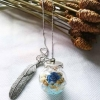 สร้อยคอดอกไม้ในขวดแก้ว ในขวดแก้วเป็นดอกไม้จริง งาน Handmade