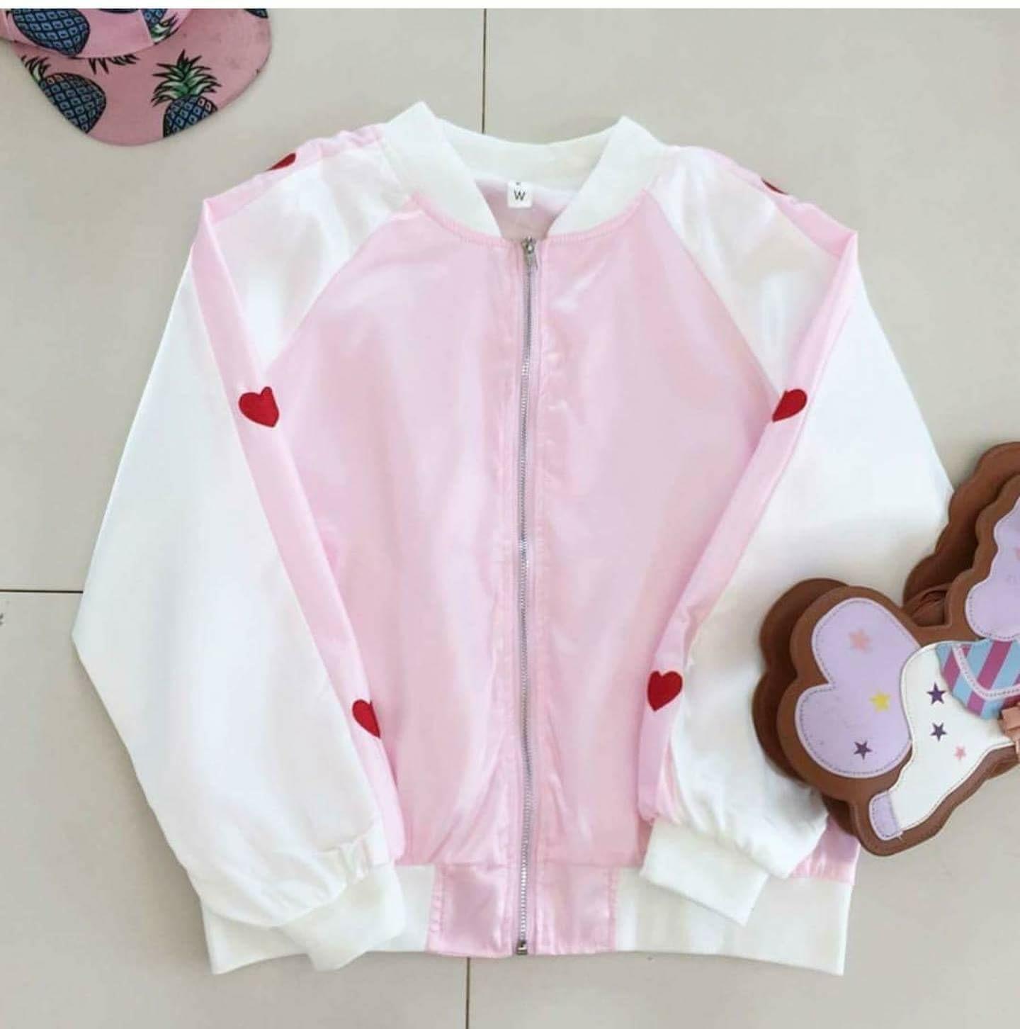 เสื้อแจ็คเก็ตพาสเทล รูปหัวใจ